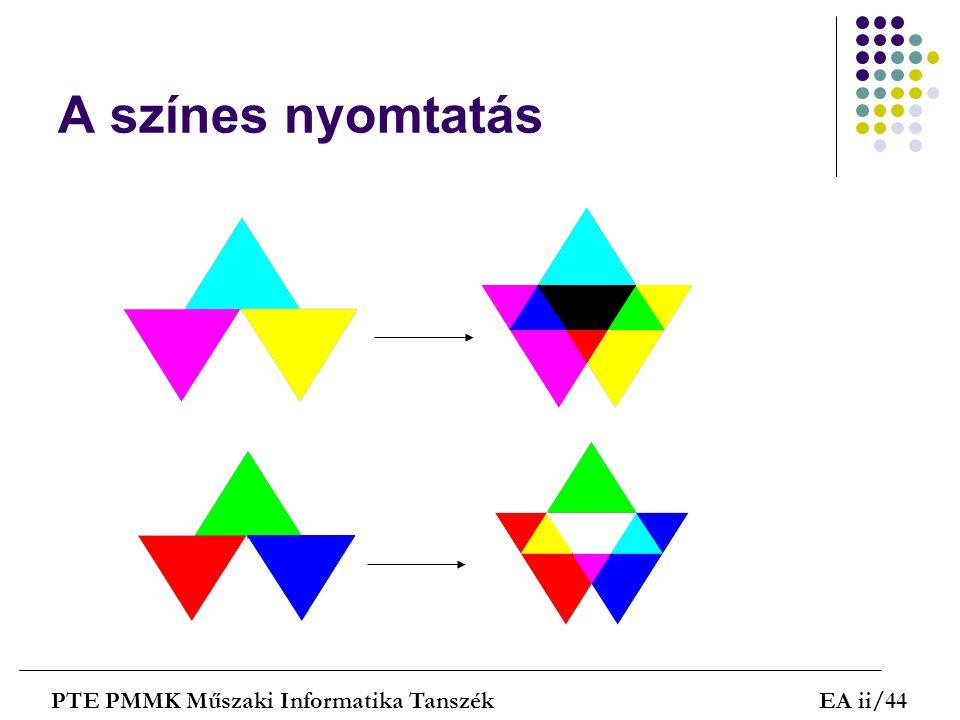 A színes nyomtatás PTE PMMK Műszaki Informatika TanszékEA ii/44