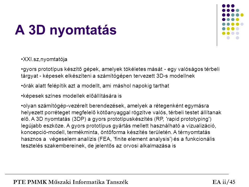 A 3D nyomtatás PTE PMMK Műszaki Informatika TanszékEA ii/45 XXI.sz,nyomtatója gyors prototípus készítő gépek, amelyek tökéletes mását - egy valóságos