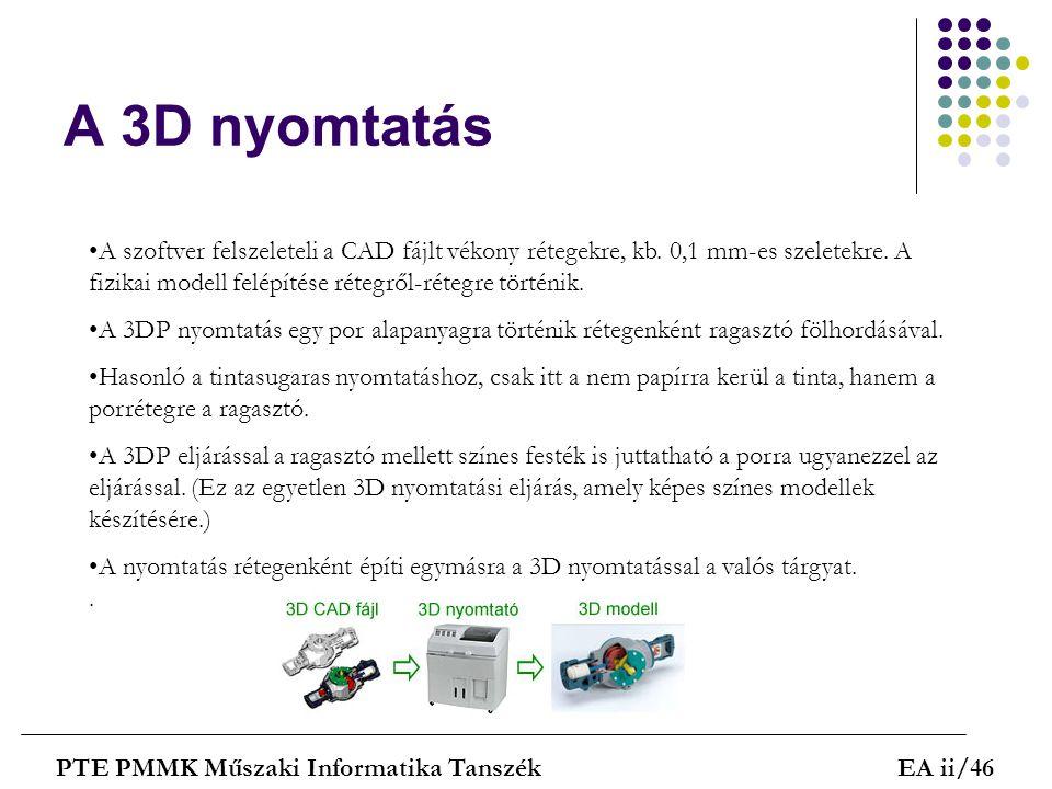 A 3D nyomtatás PTE PMMK Műszaki Informatika TanszékEA ii/46 A szoftver felszeleteli a CAD fájlt vékony rétegekre, kb. 0,1 mm-es szeletekre. A fizikai