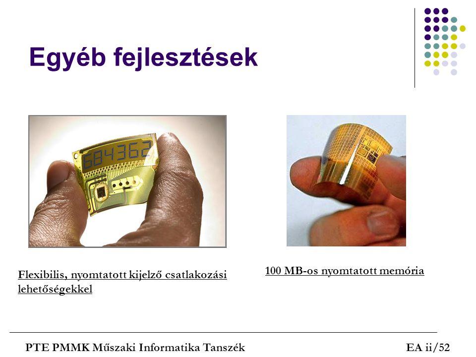 Egyéb fejlesztések PTE PMMK Műszaki Informatika TanszékEA ii/52 Flexibilis, nyomtatott kijelző csatlakozási lehetőségekkel 100 MB-os nyomtatott memóri