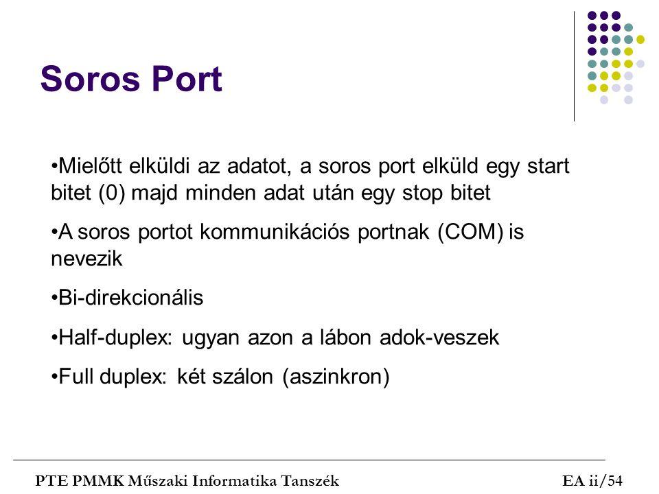Soros Port PTE PMMK Műszaki Informatika TanszékEA ii/54 Mielőtt elküldi az adatot, a soros port elküld egy start bitet (0) majd minden adat után egy s