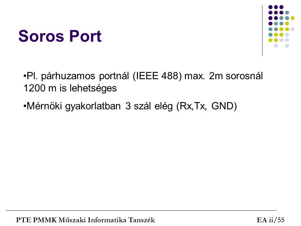 Soros Port PTE PMMK Műszaki Informatika TanszékEA ii/55 Pl. párhuzamos portnál (IEEE 488) max. 2m sorosnál 1200 m is lehetséges Mérnöki gyakorlatban 3