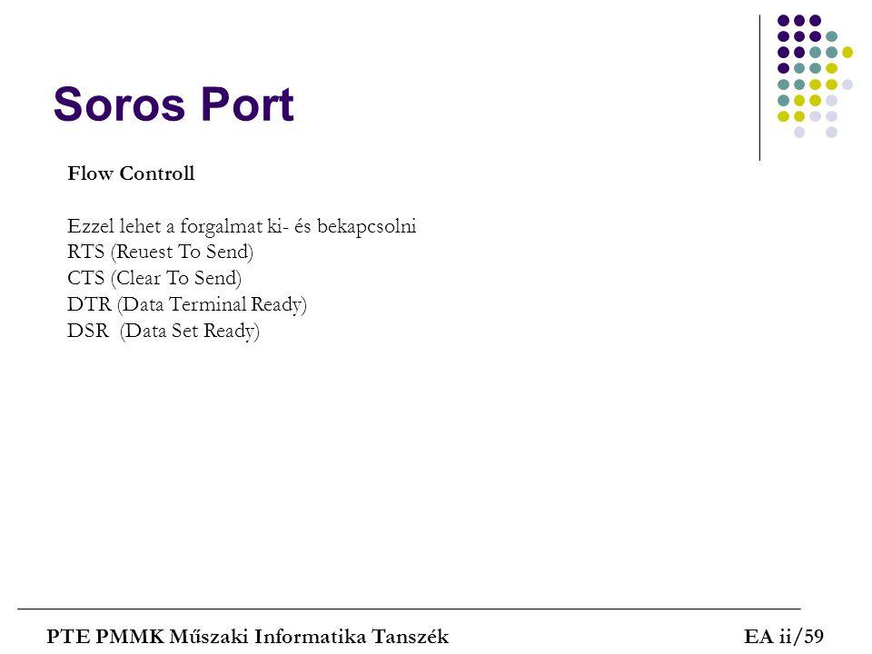 Soros Port PTE PMMK Műszaki Informatika TanszékEA ii/59 Flow Controll Ezzel lehet a forgalmat ki- és bekapcsolni RTS (Reuest To Send) CTS (Clear To Se