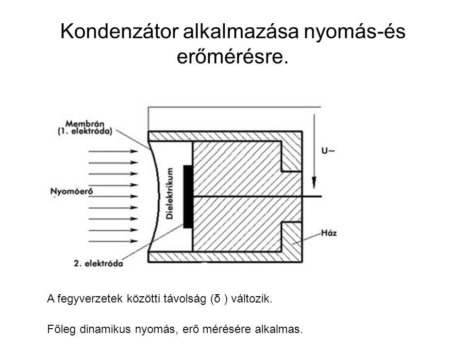 Kondenzátor alkalmazása nyomás-és erőmérésre. A fegyverzetek közötti távolság (δ ) változik. Főleg dinamikus nyomás, erő mérésére alkalmas.