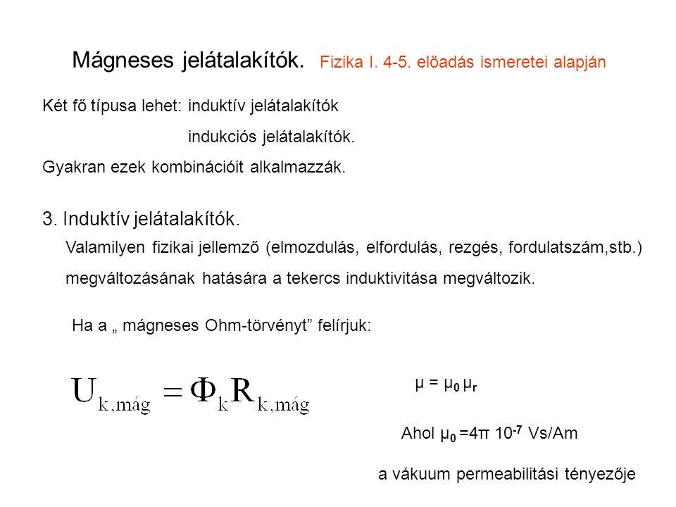 Mágneses jelátalakítók. Fizika I. 4-5. előadás ismeretei alapján Két fő típusa lehet: induktív jelátalakítók indukciós jelátalakítók. Gyakran ezek kom