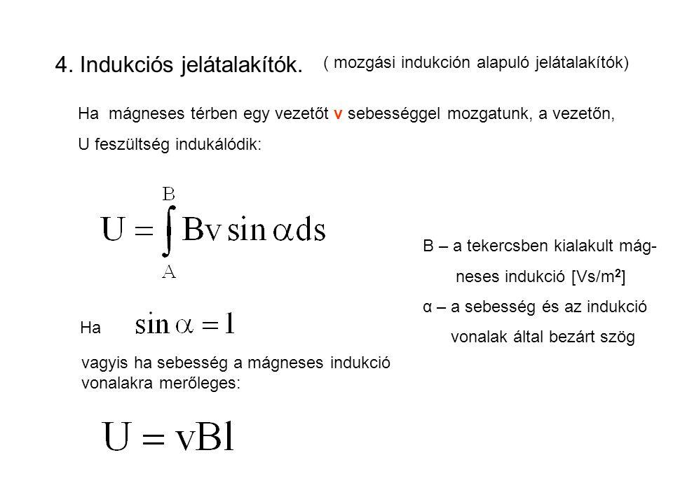 4. Indukciós jelátalakítók. ( mozgási indukción alapuló jelátalakítók) Ha mágneses térben egy vezetőt v sebességgel mozgatunk, a vezetőn, U feszültség