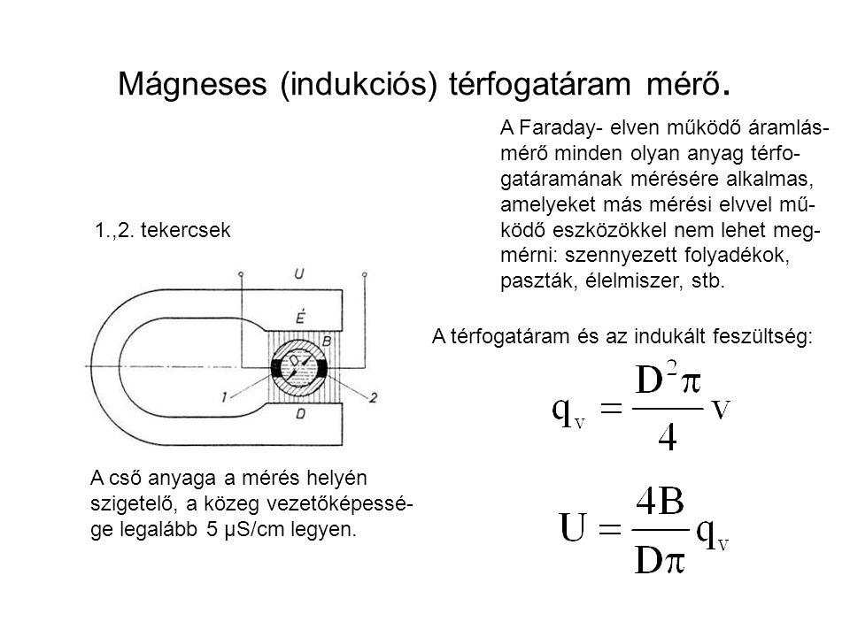 Mágneses (indukciós) térfogatáram mérő. A Faraday- elven működő áramlás- mérő minden olyan anyag térfo- gatáramának mérésére alkalmas, amelyeket más m