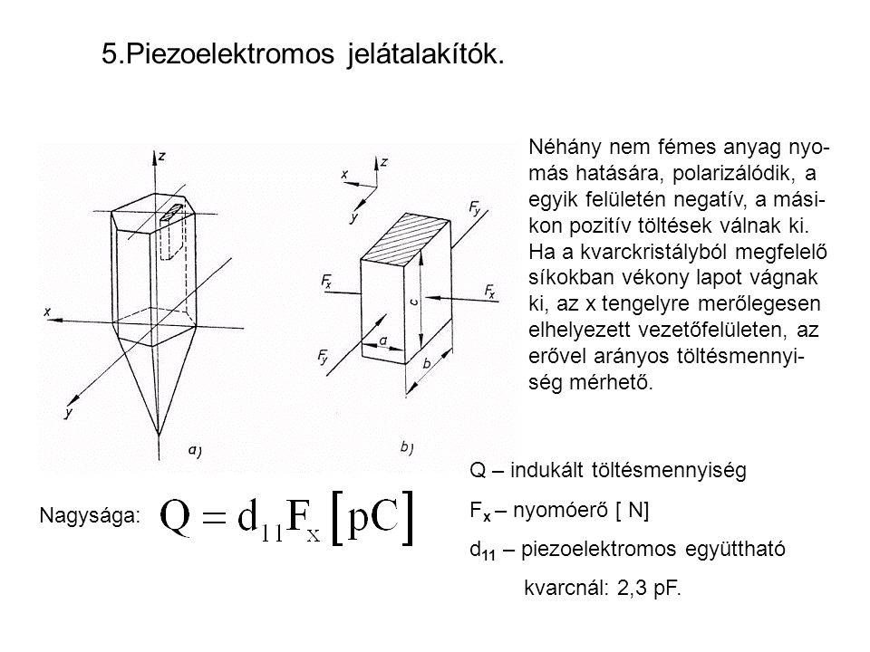 5.Piezoelektromos jelátalakítók. Néhány nem fémes anyag nyo- más hatására, polarizálódik, a egyik felületén negatív, a mási- kon pozitív töltések váln