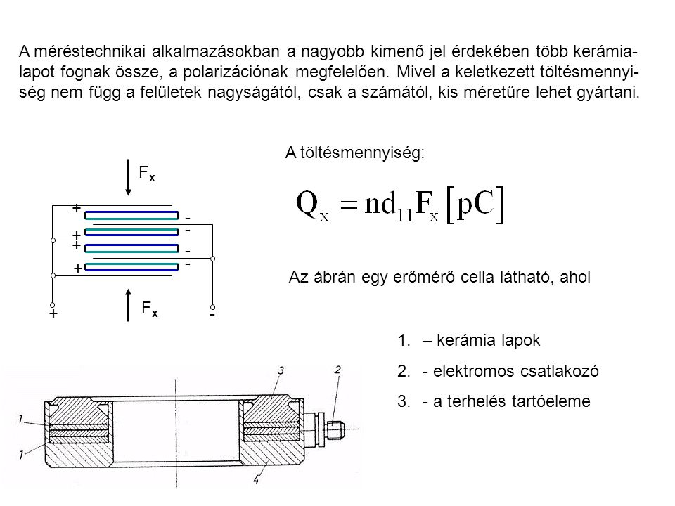 + + + + + - - - - - FxFx FxFx A méréstechnikai alkalmazásokban a nagyobb kimenő jel érdekében több kerámia- lapot fognak össze, a polarizációnak megfe