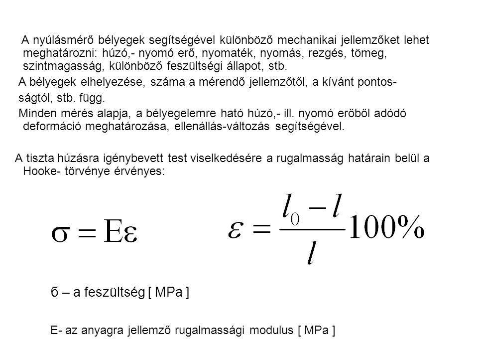 ε – fajlagos nyúlás %-ban l 0 - a vezeték megnyúlt hossza [ m ] l– a vezeték eredeti hossza [ m ] A vezeték ellenállásának eredeti értéke: ρ – a huzal anyagának fajlagos ellen- állása [Ωmm 2 /m] A – a huzal keresztmetszete[mm 2 ] A relatív ellenállás-változás: A keresztirányú változást és a fajlagos ellenállás megváltozását egy átalakítási tényezőbe foglalták össze, amelyet k bélyegállandónak neveznek, és megvásá- roljuk a bélyeggel.