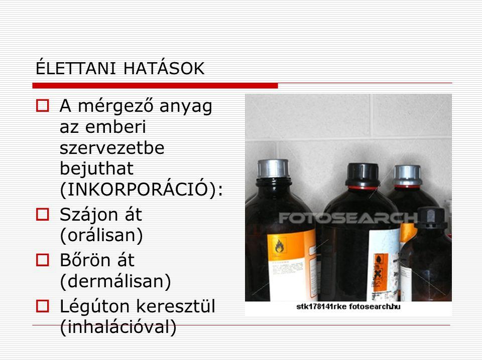 ÉLETTANI HATÁSOK  A mérgező anyag az emberi szervezetbe bejuthat (INKORPORÁCIÓ):  Szájon át (orálisan)  Bőrön át (dermálisan)  Légúton keresztül (