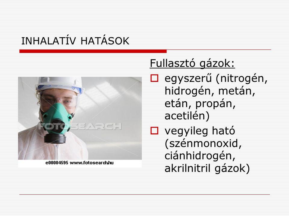 INHALATÍV HATÁSOK Fullasztó gázok:  egyszerű (nitrogén, hidrogén, metán, etán, propán, acetilén)  vegyileg ható (szénmonoxid, ciánhidrogén, akrilnit