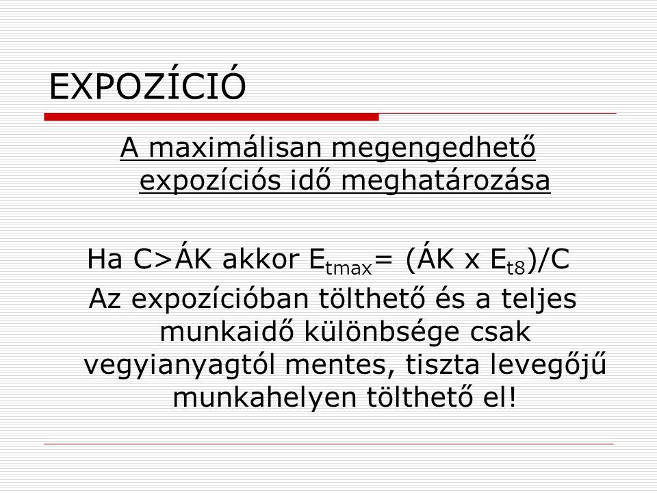 EXPOZÍCIÓ A maximálisan megengedhető expozíciós idő meghatározása Ha C>ÁK akkor E tmax = (ÁK x E t8 )/C Az expozícióban tölthető és a teljes munkaidő