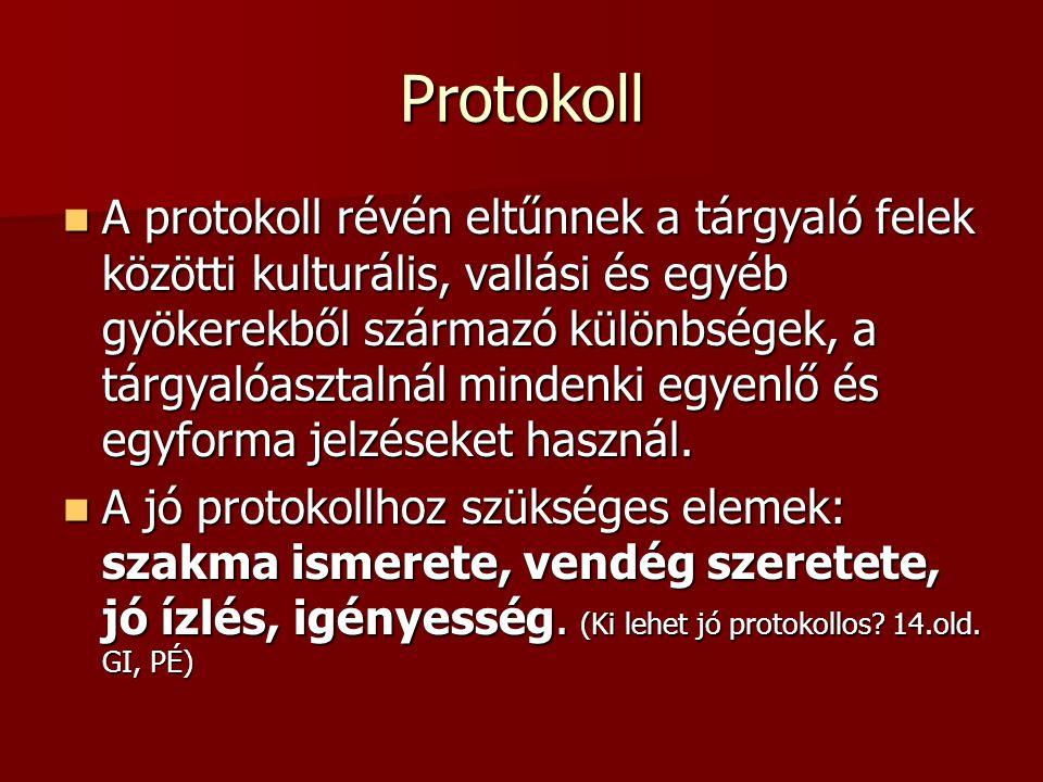 Protokoll A protokoll révén eltűnnek a tárgyaló felek közötti kulturális, vallási és egyéb gyökerekből származó különbségek, a tárgyalóasztalnál mindenki egyenlő és egyforma jelzéseket használ.