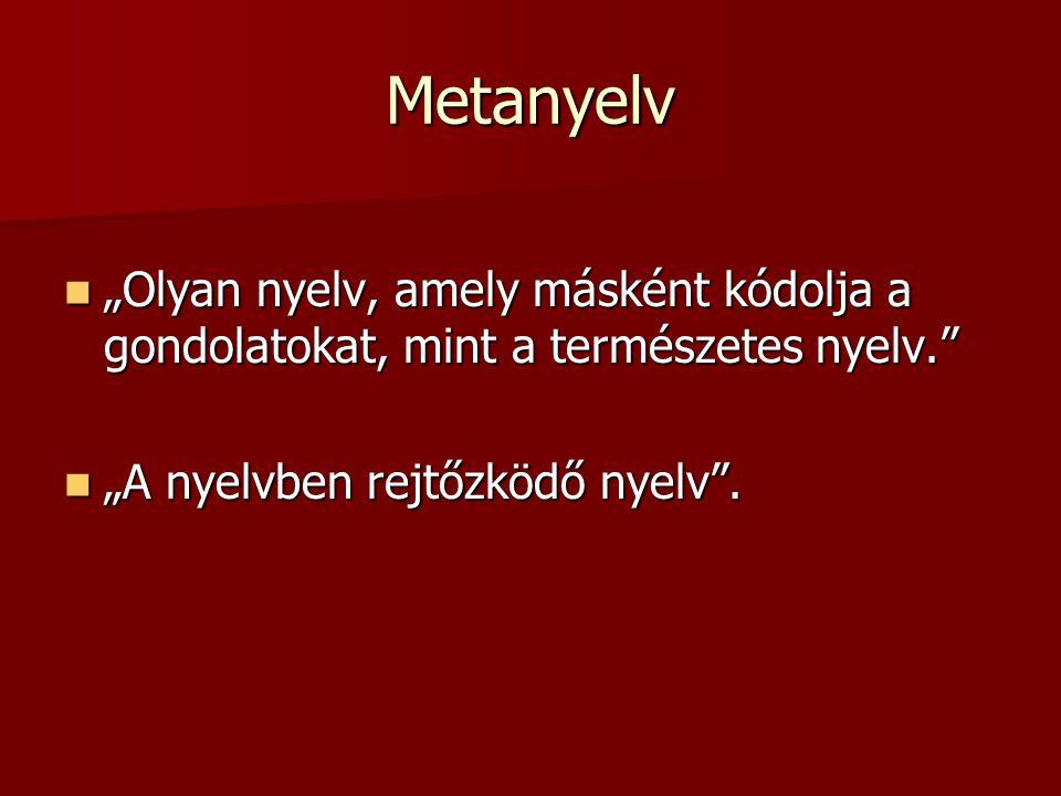 """Metanyelv """"Olyan nyelv, amely másként kódolja a gondolatokat, mint a természetes nyelv. """"Olyan nyelv, amely másként kódolja a gondolatokat, mint a természetes nyelv. """"A nyelvben rejtőzködő nyelv ."""