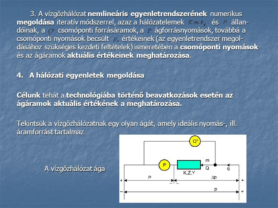 3. A vízgőzhálózat nemlineáris egyenletrendszerének numerikus megoldása iteratív módszerrel, azaz a hálózatelemek és állan- dóinak, a csomóponti forrá
