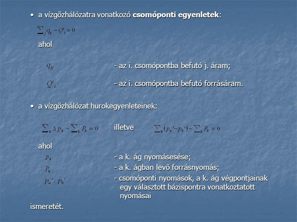 a vízgőzhálózatra vonatkozó csomóponti egyenletek:a vízgőzhálózatra vonatkozó csomóponti egyenletek:ahol - az i.
