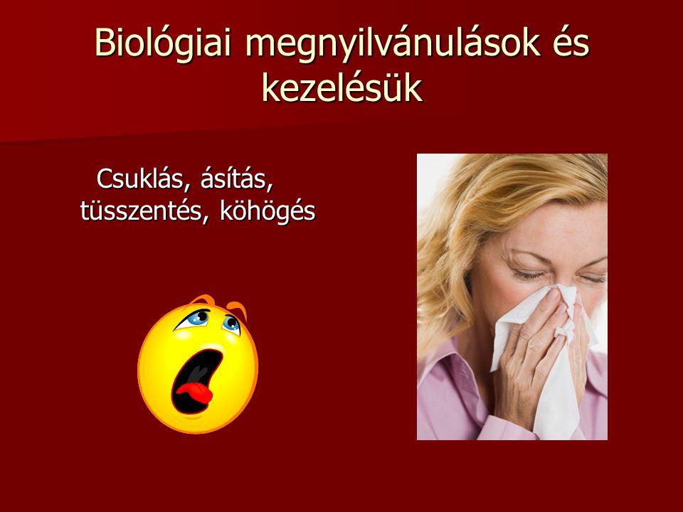 Biológiai megnyilvánulások és kezelésük Csuklás, ásítás, tüsszentés, köhögés