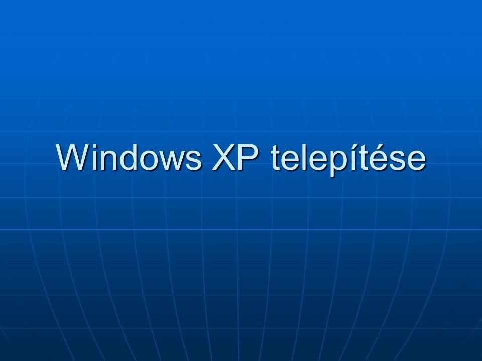 Windows XP telepítése