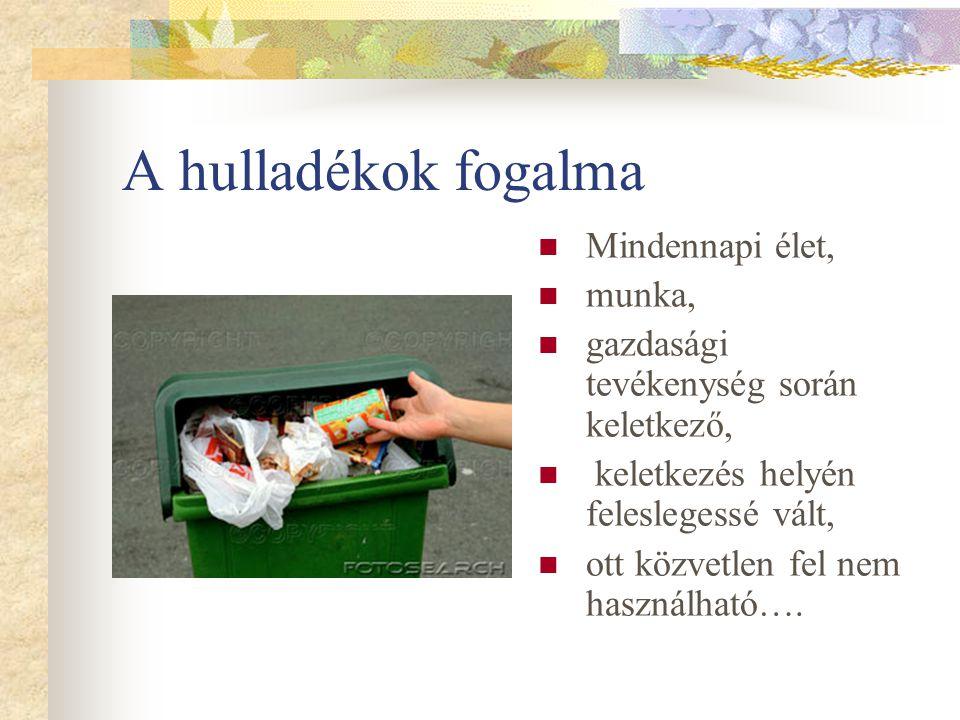 A hulladékok fogalma Mindennapi élet, munka, gazdasági tevékenység során keletkező, keletkezés helyén feleslegessé vált, ott közvetlen fel nem használ
