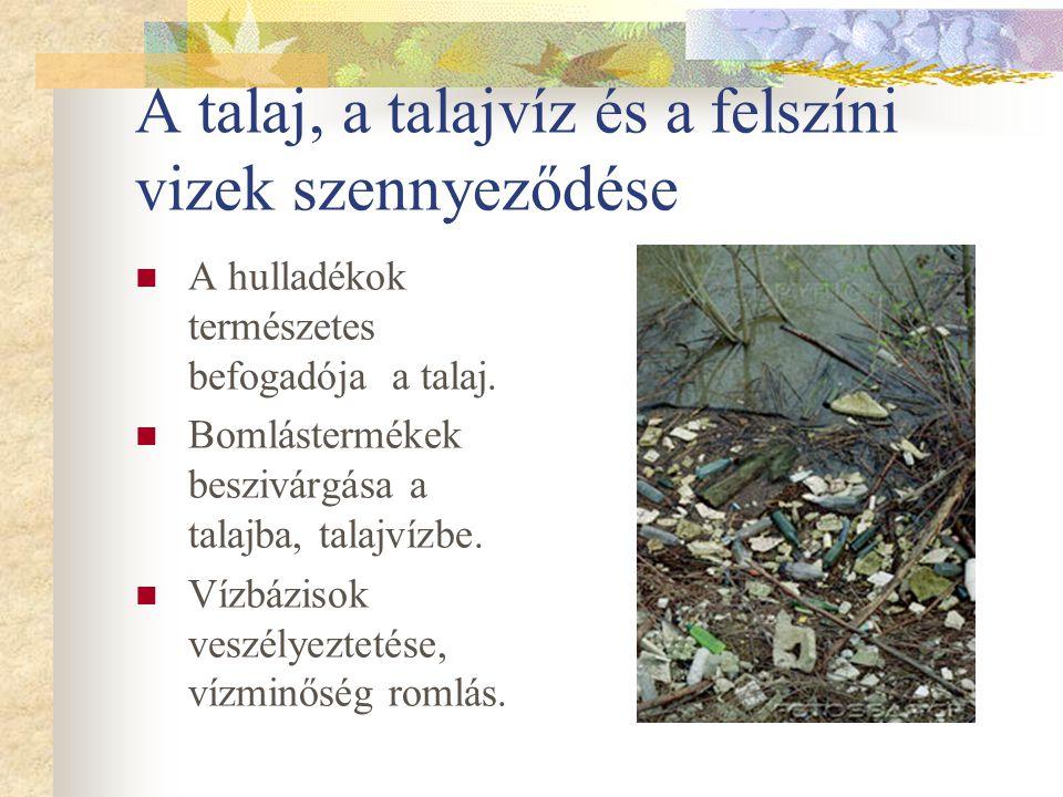 A talaj, a talajvíz és a felszíni vizek szennyeződése A hulladékok természetes befogadója a talaj. Bomlástermékek beszivárgása a talajba, talajvízbe.