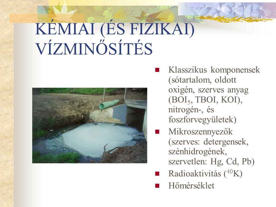KÉMIAI (ÉS FIZIKAI) VÍZMINŐSÍTÉS Klasszikus komponensek (sótartalom, oldott oxigén, szerves anyag (BOI 5, TBOI, KOI), nitrogén-, és foszforvegyületek)