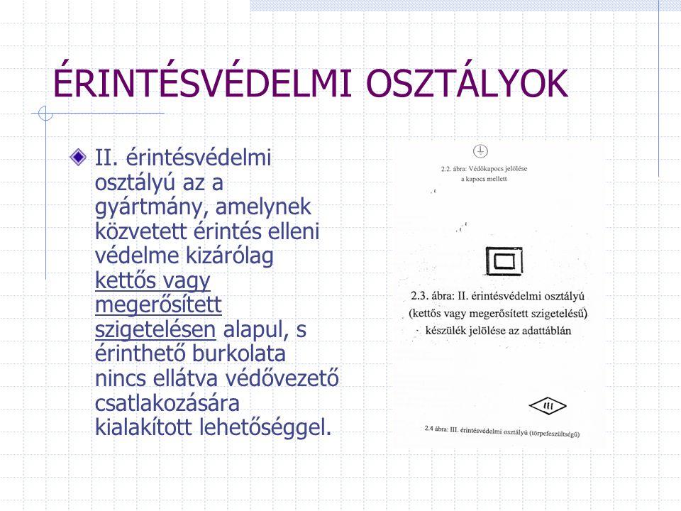 ÉRINTÉSVÉDELMI OSZTÁLYOK II.