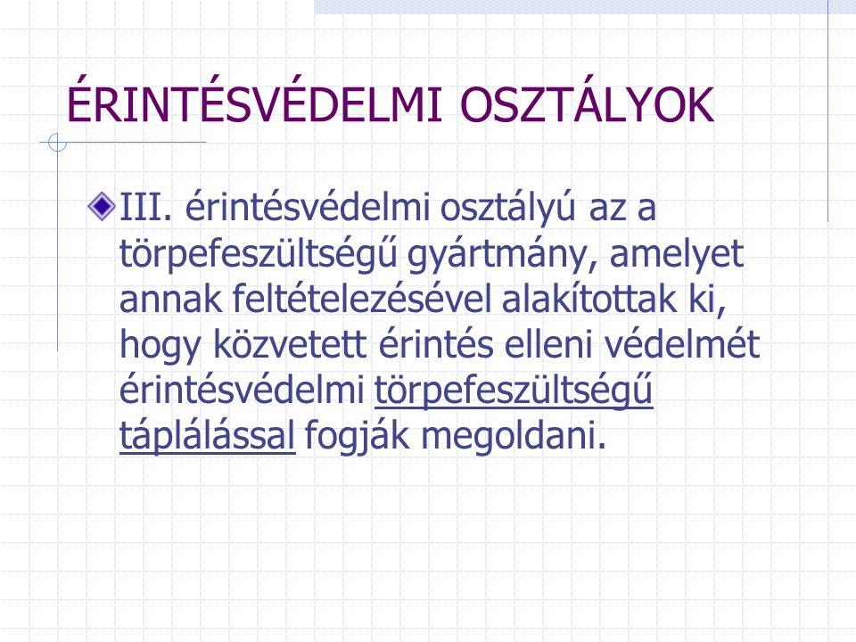 ÉRINTÉSVÉDELMI OSZTÁLYOK III.