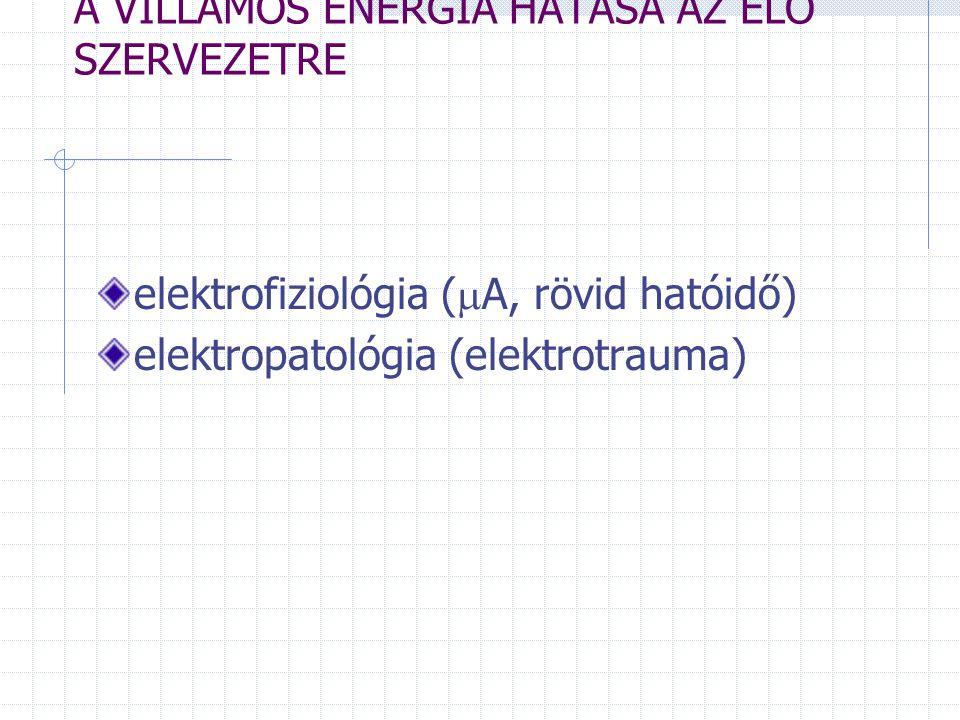 A VILLAMOS ENERGIA HATÁSA AZ ÉLŐ SZERVEZETRE elektrofiziológia (  A, rövid hatóidő) elektropatológia (elektrotrauma)