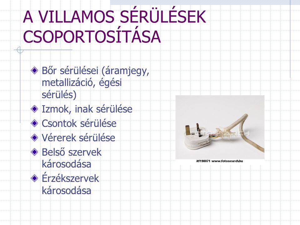 A VILLAMOS SÉRÜLÉSEK CSOPORTOSÍTÁSA Bőr sérülései (áramjegy, metallizáció, égési sérülés) Izmok, inak sérülése Csontok sérülése Vérerek sérülése Belső