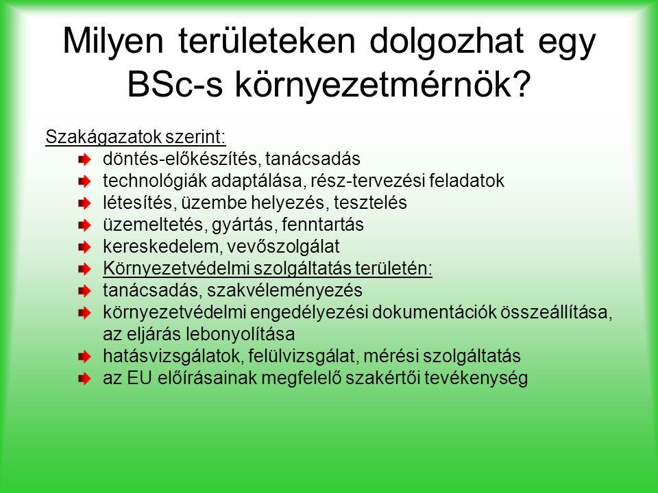 Milyen területeken dolgozhat egy BSc-s környezetmérnök? Szakágazatok szerint: döntés-előkészítés, tanácsadás technológiák adaptálása, rész-tervezési f