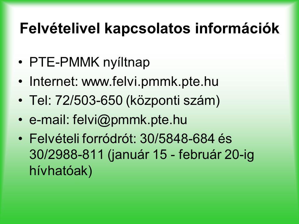 Felvételivel kapcsolatos információk PTE-PMMK nyíltnap Internet: www.felvi.pmmk.pte.hu Tel: 72/503-650 (központi szám) e-mail: felvi@pmmk.pte.hu Felvé