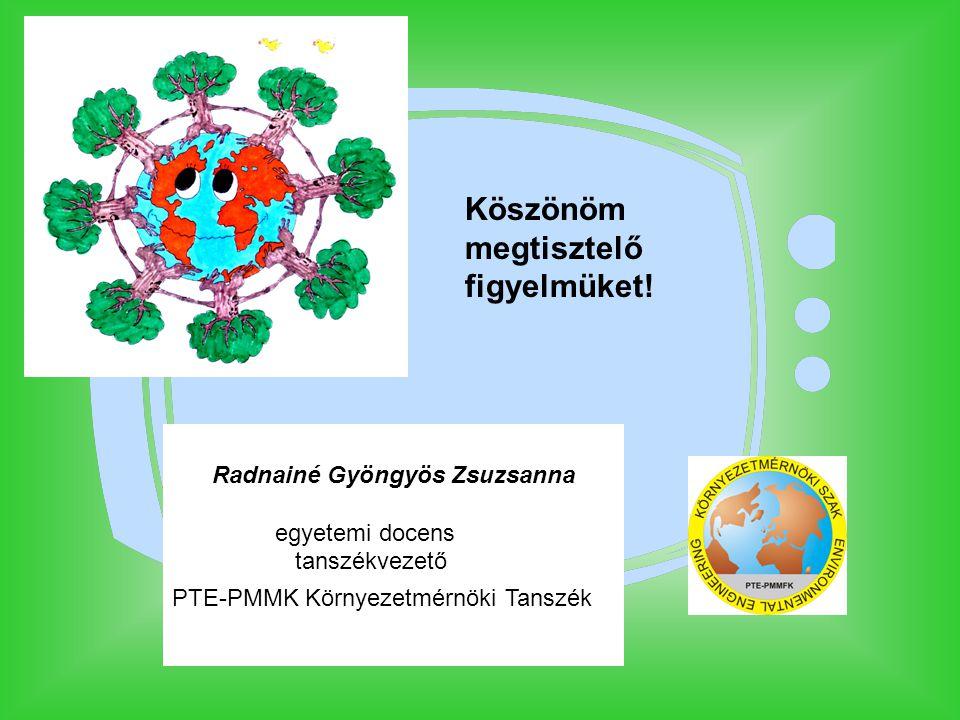 Köszönöm megtisztelő figyelmüket! Radnainé Gyöngyös Zsuzsanna egyetemi docens tanszékvezető PTE-PMMK Környezetmérnöki Tanszék