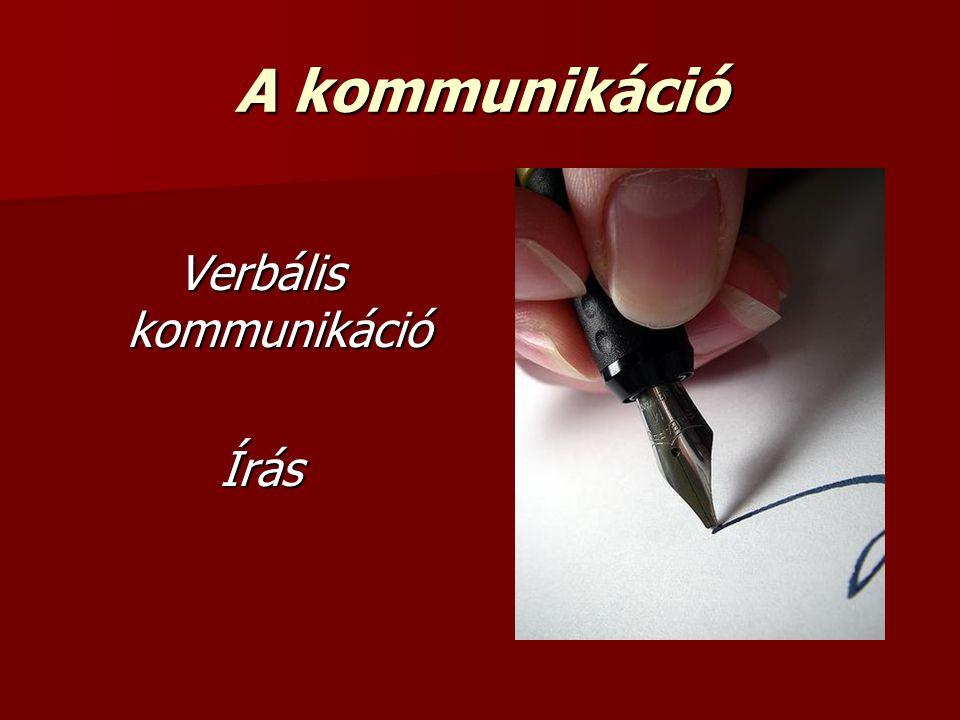 A kommunikáció Verbális kommunikáció Írás