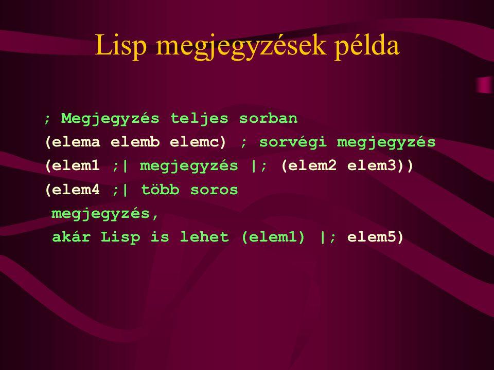 Lisp megjegyzések példa ; Megjegyzés teljes sorban (elema elemb elemc) ; sorvégi megjegyzés (elem1 ;| megjegyzés |; (elem2 elem3)) (elem4 ;| több soros megjegyzés, akár Lisp is lehet (elem1) |; elem5)