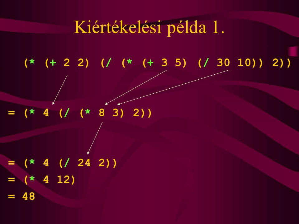 Kiértékelési példa 1. (* (+ 2 2) (/ (* (+ 3 5) (/ 30 10)) 2)) = (* 4 (/ (* 8 3) 2)) = (* 4 (/ 24 2)) = (* 4 12) = 48