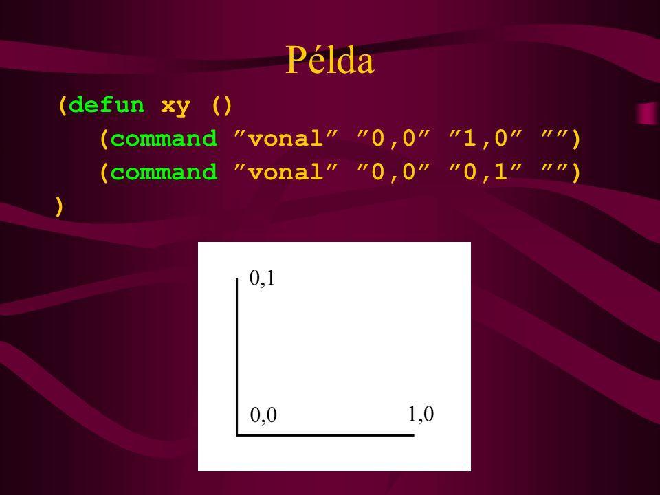 """Példa (defun xy () (command """"vonal"""" """"0,0"""" """"1,0"""" """""""") (command """"vonal"""" """"0,0"""" """"0,1"""" """""""") )"""