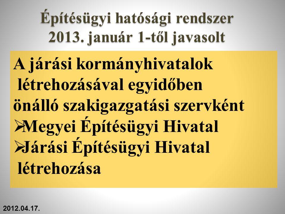 Építésügyi hatósági rendszer 2013. január 1-től javasolt A járási kormányhivatalok létrehozásával egyidőben önálló szakigazgatási szervként  Megyei É