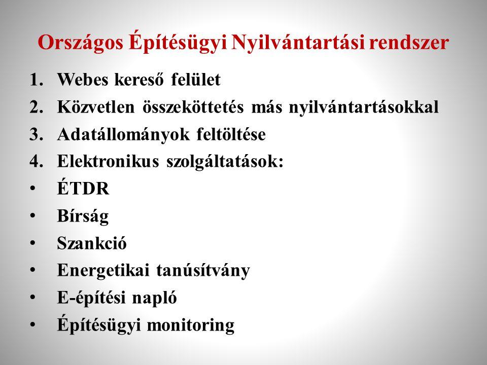 Országos Építésügyi Nyilvántartási rendszer 1.Webes kereső felület 2.Közvetlen összeköttetés más nyilvántartásokkal 3.Adatállományok feltöltése 4.Elek