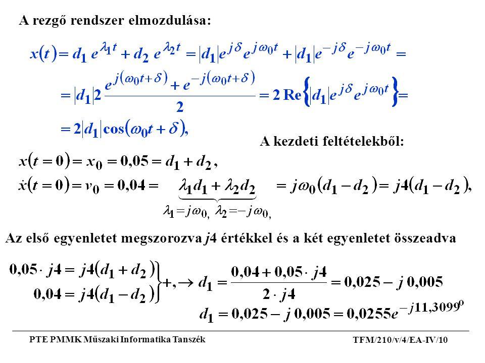 TFM/210/v/4/EA-IV/10 PTE PMMK Műszaki Informatika Tanszék A rezgő rendszer elmozdulása: A kezdeti feltételekből: Az első egyenletet megszorozva j4 ért