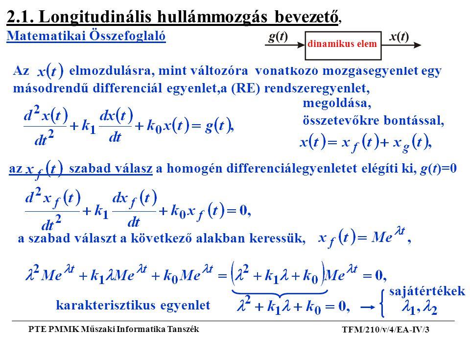 TFM/210/v/4/EA-IV/3 PTE PMMK Műszaki Informatika Tanszék sajátértékek 2.1. Longitudinális hullámmozgás bevezető, Matematikai Összefoglaló Az elmozdulá
