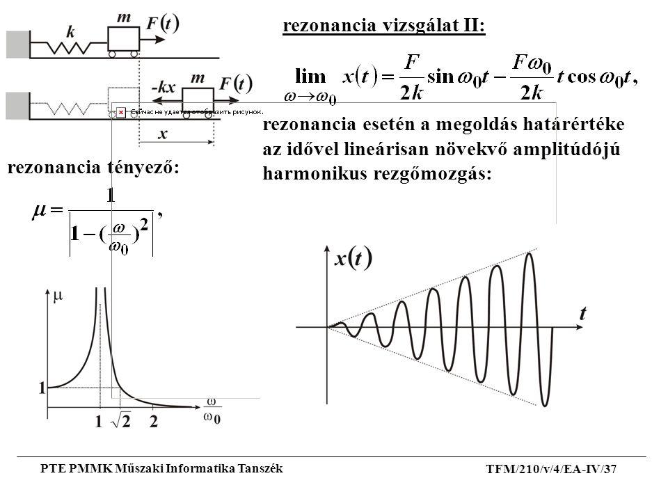 TFM/210/v/4/EA-IV/37 PTE PMMK Műszaki Informatika Tanszék rezonancia vizsgálat II: rezonancia tényező: rezonancia esetén a megoldás határértéke az idő