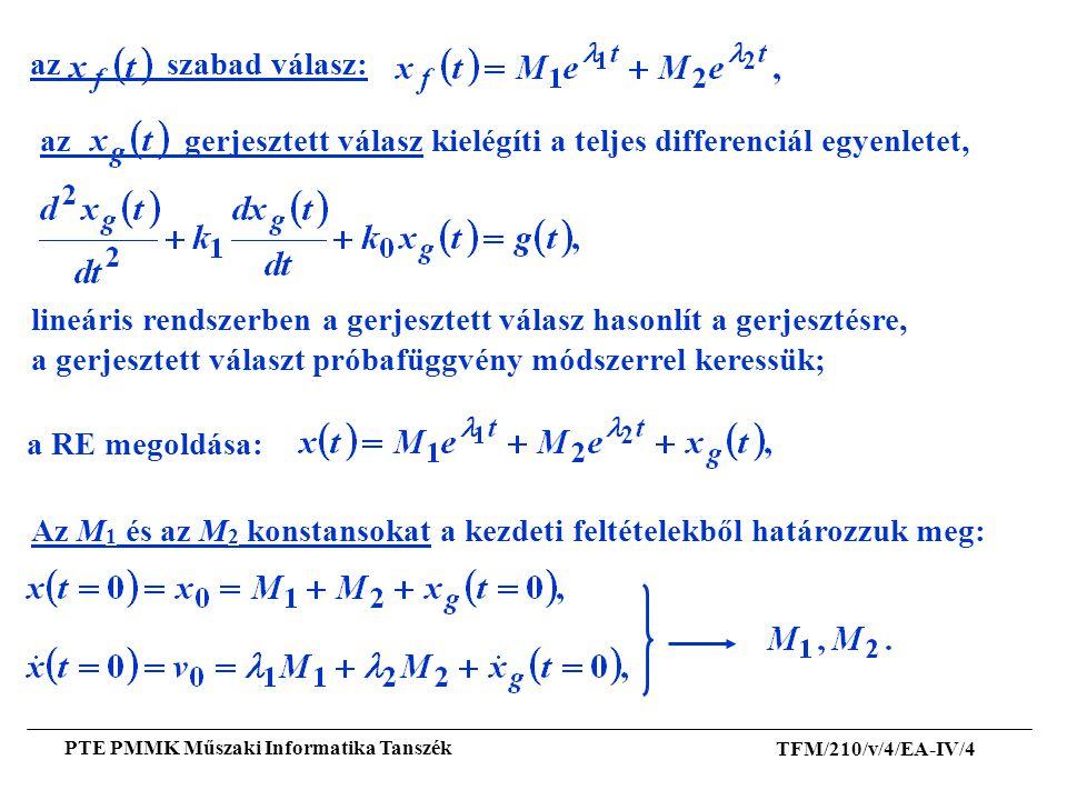 TFM/210/v/4/EA-IV/4 PTE PMMK Műszaki Informatika Tanszék az gerjesztett válasz kielégíti a teljes differenciál egyenletet, lineáris rendszerben a gerj