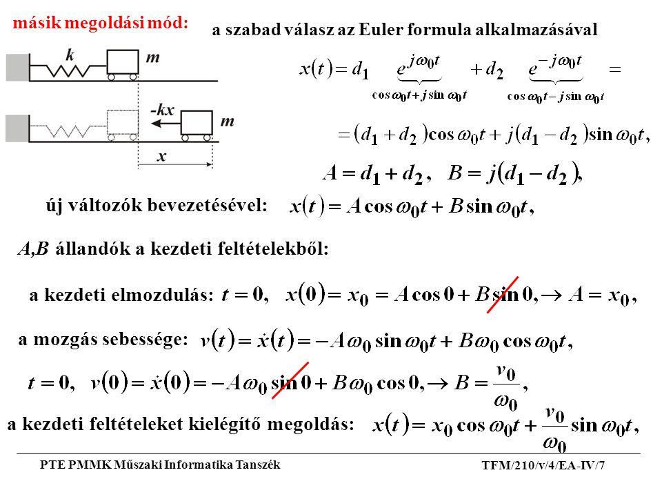 TFM/210/v/4/EA-IV/7 PTE PMMK Műszaki Informatika Tanszék új változók bevezetésével: másik megoldási mód: A,B állandók a kezdeti feltételekből: a mozgá