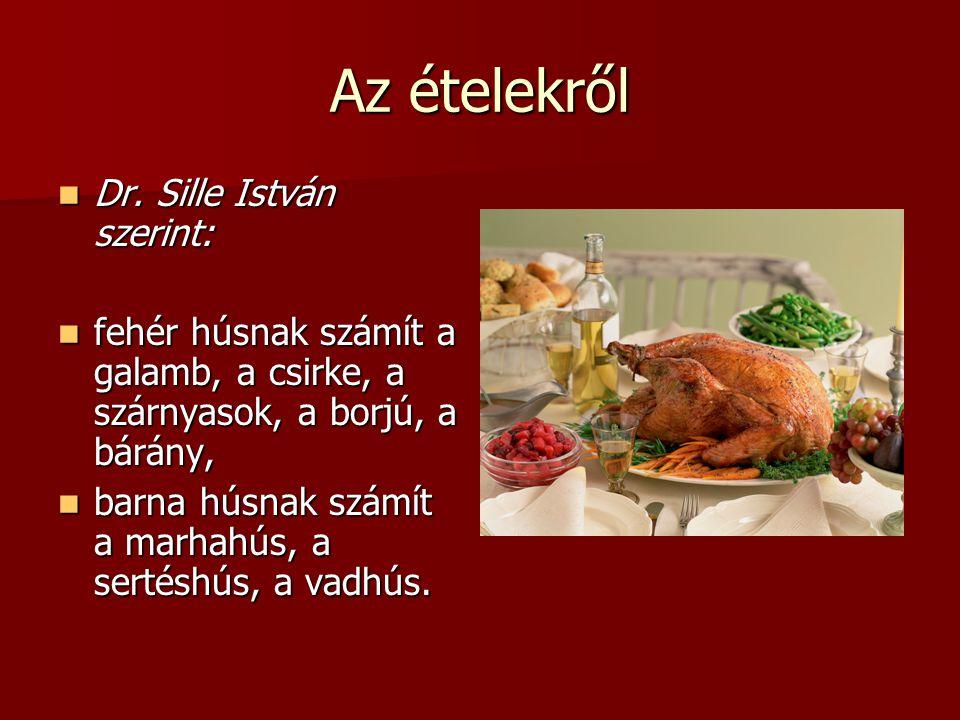 Az ételekről Dr. Sille István szerint: Dr. Sille István szerint: fehér húsnak számít a galamb, a csirke, a szárnyasok, a borjú, a bárány, fehér húsnak