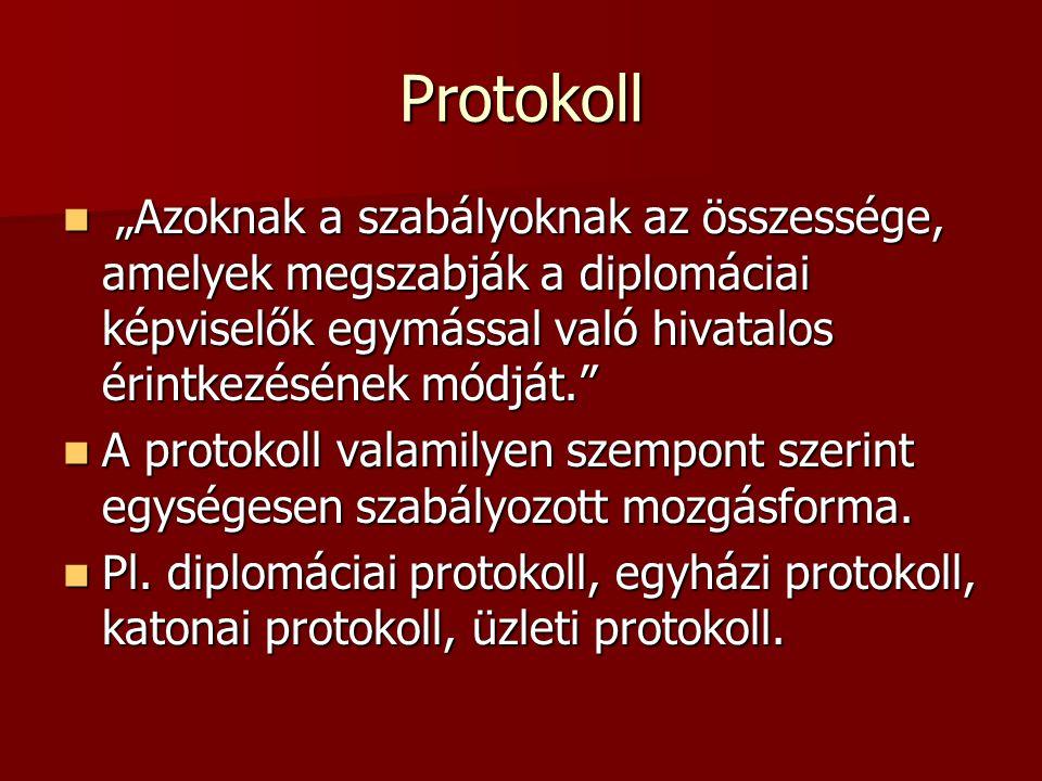 """Protokoll """"Azoknak a szabályoknak az összessége, amelyek megszabják a diplomáciai képviselők egymással való hivatalos érintkezésének módját."""" """"Azoknak"""