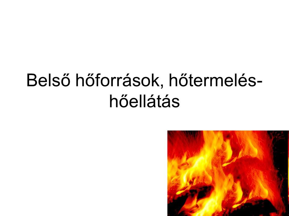 Belső hőforrások, hőtermelés- hőellátás
