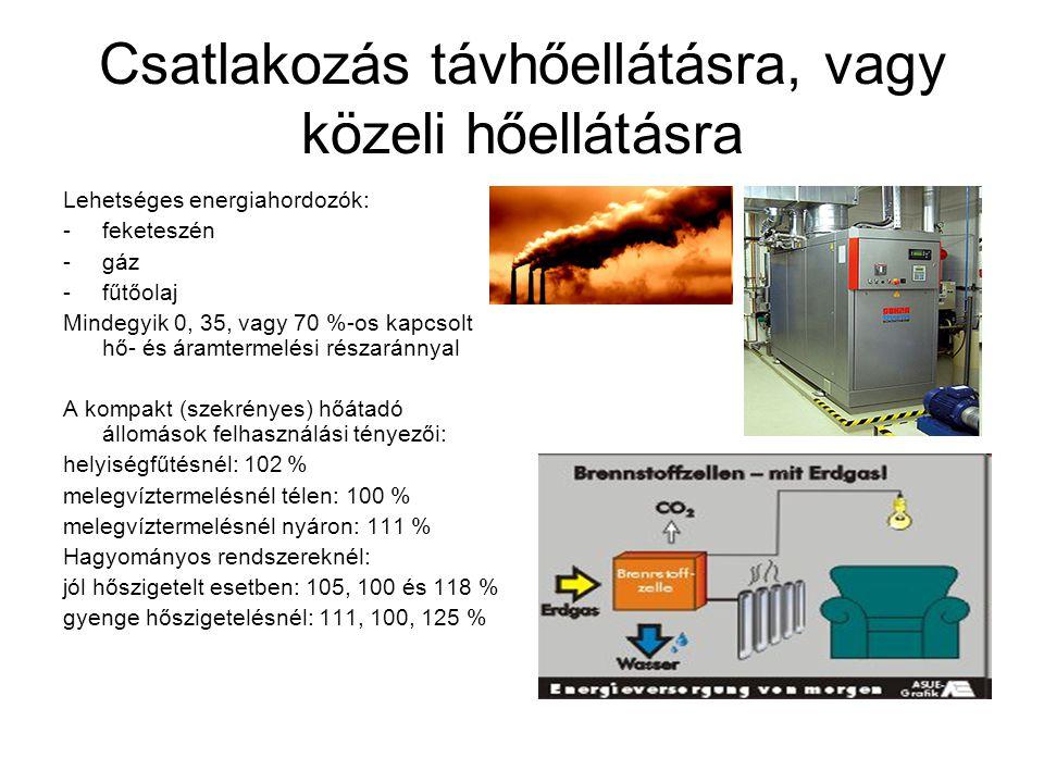 Csatlakozás távhőellátásra, vagy közeli hőellátásra Lehetséges energiahordozók: -feketeszén -gáz -fűtőolaj Mindegyik 0, 35, vagy 70 %-os kapcsolt hő- és áramtermelési részaránnyal A kompakt (szekrényes) hőátadó állomások felhasználási tényezői: helyiségfűtésnél: 102 % melegvíztermelésnél télen: 100 % melegvíztermelésnél nyáron: 111 % Hagyományos rendszereknél: jól hőszigetelt esetben: 105, 100 és 118 % gyenge hőszigetelésnél: 111, 100, 125 %