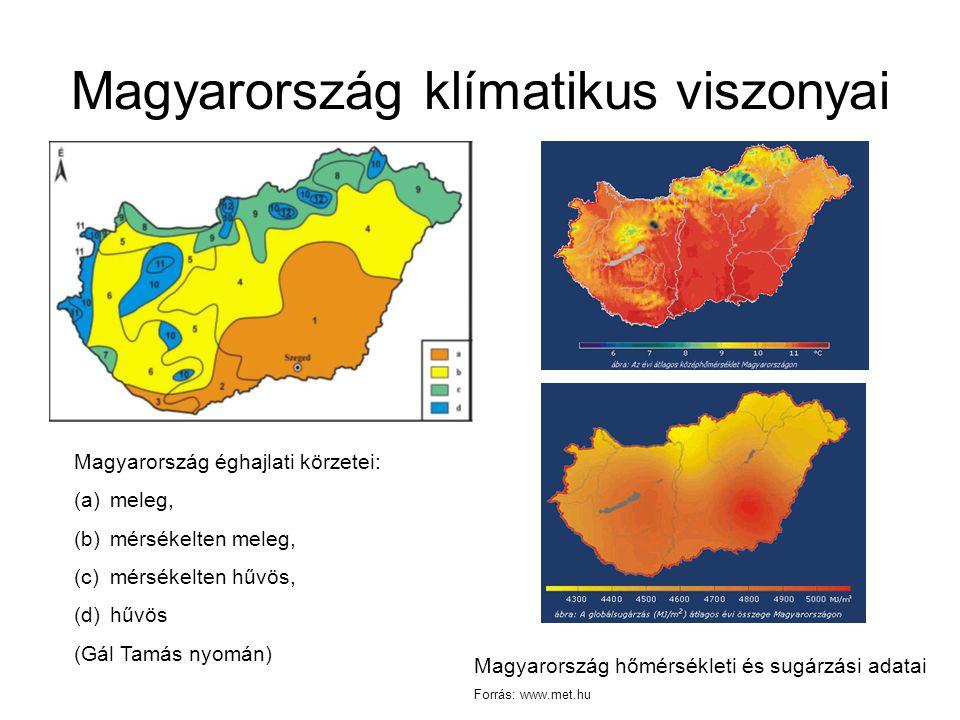 Magyarország klímatikus viszonyai Magyarország éghajlati körzetei: (a)meleg, (b)mérsékelten meleg, (c)mérsékelten hűvös, (d)hűvös (Gál Tamás nyomán) Magyarország hőmérsékleti és sugárzási adatai Forrás: www.met.hu