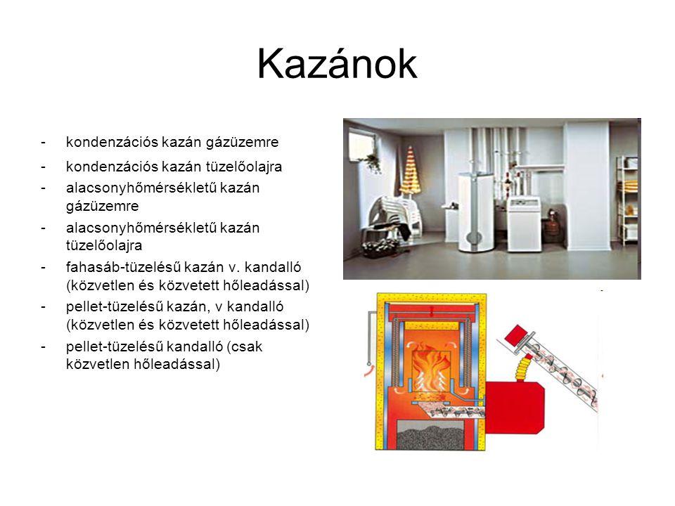 Kazánok -kondenzációs kazán gázüzemre -kondenzációs kazán tüzelőolajra -alacsonyhőmérsékletű kazán gázüzemre -alacsonyhőmérsékletű kazán tüzelőolajra